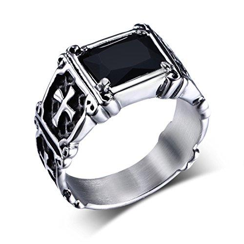 Z&X Stainless Steel Men's Gothic Cross Biker Ring Vintage Black Onyx (Onyx Mens Cross Ring)