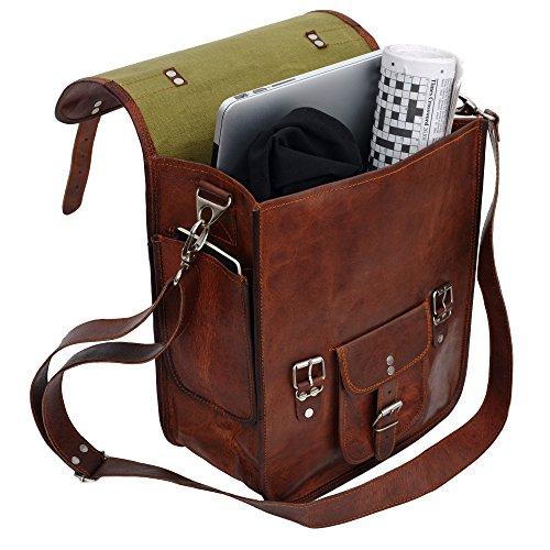 81stgeneration Men's Women's Genuine Large Leather Vertical Messenger Style Backpack Shoulder Bag by 81stgeneration (Image #2)