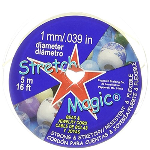 Pepperell SMJ-2-5 1mm Stretch Magic Bead and Jewelry Cord, 5m, Pearl