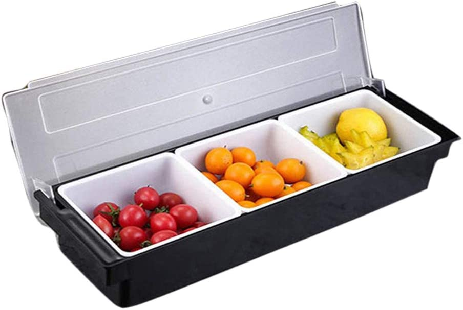 Fruit Garnish Tray FEOOWV 3-Compartment Condiment Caddy with Lid for Home Restaurant Buffets Bars Supplies Dips Toppings Serving Container