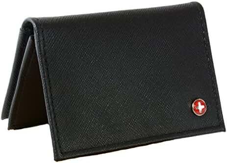 Alpine Swiss Genuine Leather Thin Business Card Case Minimalist Wallet