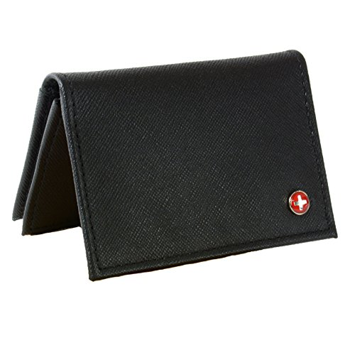 Leather Thin Business Card Case Minimalist Wallet Crosshatch Black (Alpina Cross)