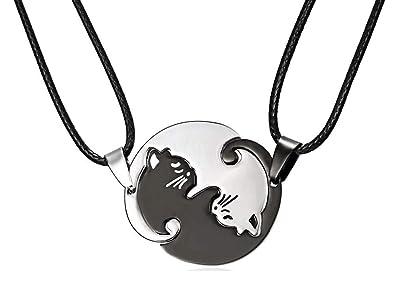 Dos collares - Colgantes - Gatos - Yin Yang - Tao - Entrelazados - Negro -