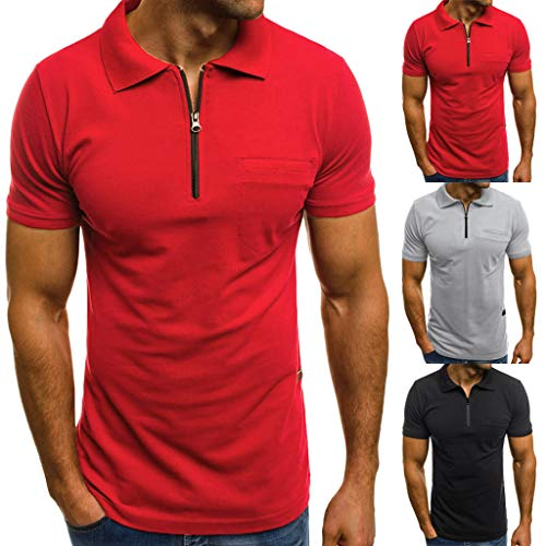 Courtes Hommes shirt Magiyard Blouse Personnalité Casual T Manches Poches Mince Top La Chemisier Mode Rouge Sw4qA0