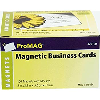 Amazon 1 x 100 adhesive magnetic business card magnets 20 mil promag 2 x 3 12 inches adhesive business card magnets reheart Images