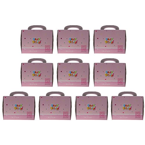 Dovewill 10x Happy Birthday Cupcake Box Muffin Container Baking Food Packaging Party Supplies by Dovewill