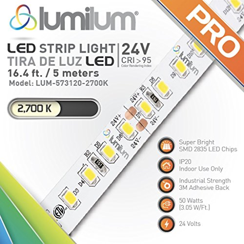 Lumilum 16,4ft (5m) LED Strip Light 24V Series (2700K Ultra Warm White) SMD 2835 chips, 95 High CRI, Fully Certified, Commercial Grade, 50,000 hours Rated, Dimmable, IP20 for Indoor Interior Use