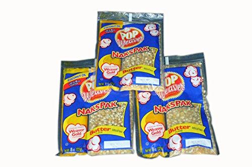 Pop Weaver Naks Pak 8 oz Butter Flavored Coconut Oil and Popcorn Packs for 6 oz Popper Popping Machine - 3 PACK