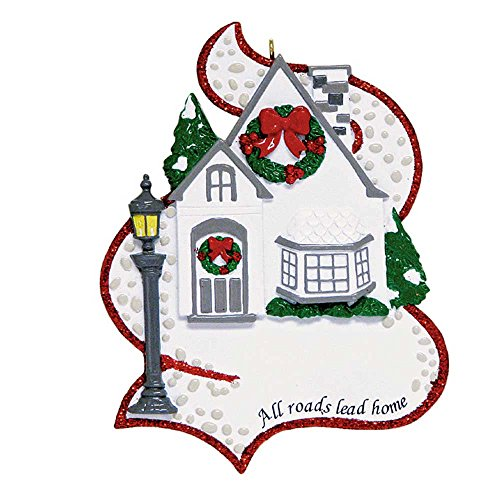 Wreath House Ornament (Personalized All Roads Lead Home Christmas Tree Ornament 2019 - Stone Walk Path Elegant Single Family House Our New Housewarming Light Holiday Mates Host Red Glitter Year - Free Customization)
