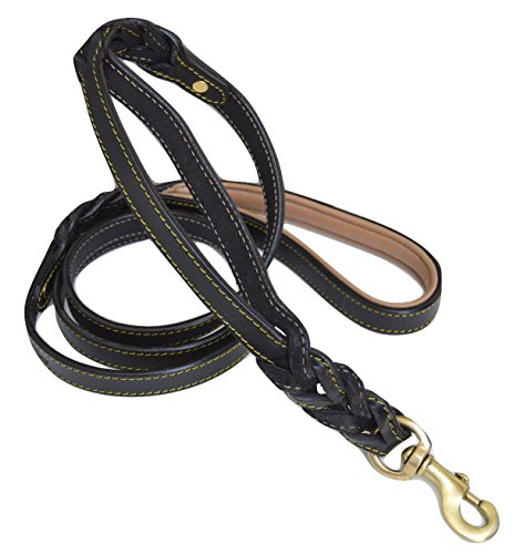 Soft Touch Collars, 6 Foot Braided Leather Dog Leash with Traffic Handle, Two Handles for Training and Safety, Double your Control with 2 Locations, Lead for Large and Medium Dogs,Black 6ft x 3/4 Inch ()
