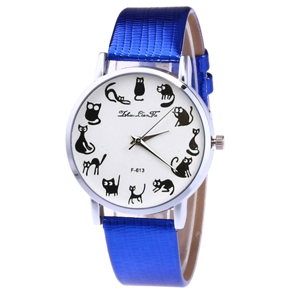 Amazon.com: WoCoo Fashion Cute Cat-Pointer Dress Analog Quartz Wrist Watch with Leather Mesh Band Watches Gifts for Women(Blue): Kitchen & Dining