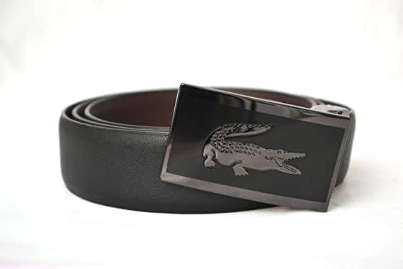 00dbcbda468c40 Lacoste Mens Black Brown Leather Belt Reversible with Oversized Croc Buckle  (38)  Amazon.co.uk  Clothing