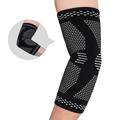[2 Pack]Elbow Brace Compression Support- Elbow Sleeve for Tendonitis, Tennis Elbow Brace and Golfers Elbow Treatment, Arthritis, Workouts, Weightlifting-Elbow Pain Relief
