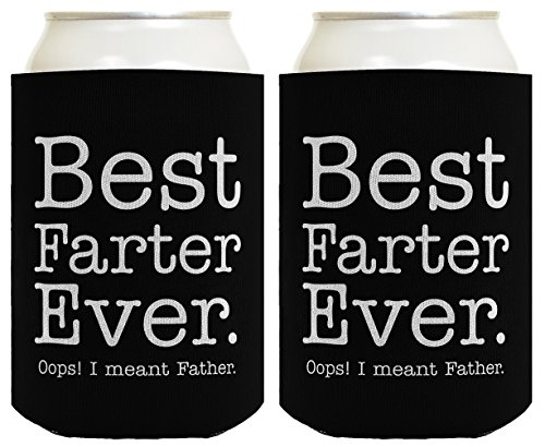 Father Day Gifts for Dad Best Farter Ever Oops Meant Father Fathers Day Gift Ideas Dad Gifts from Daughter Retirement Gifts for Dad Birthday Gifts for Dad 2 Pack Can Coolie Drink Coolers Coolies Black