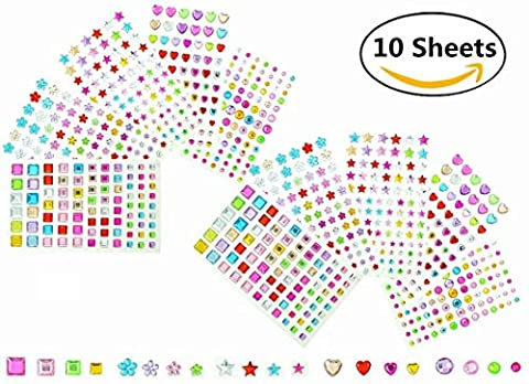 Magnolora 5 Shapes 10 Sheets Self-adhesive Rhinestone Sticker Multicolor Crystal Diamond Gem Sticker Sheets for Scrapbooking Embellishments and Crafts, Approx. 840 (Rhinestone Peel And Stick)