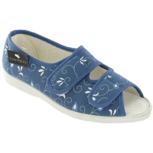 Mirak Womens Molly Canvas Sandals Textile Rubber Touch Fastening Footwear Shoes Blue f7Bb3e