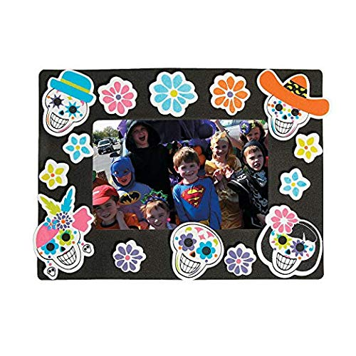 Sugar Skull Day of the Dead Foam Picture Frame Magnet Craft kit-makes 12