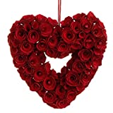 "RAZ Imports - 10"" Red Rose Heart Wreath"