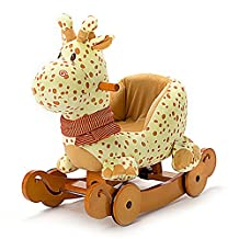 Labebe Modern Plush Rocking Horse with Padded Animal for Little Toddlers Kids Baby Boys & Girls (6-36 Months), Indoor Ride On Toys Rockers with Wheels and Sound Paper - Cute Stuffed Yellow Giraffe
