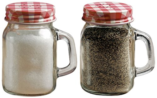 Circleware 66743 Mini Mason Jar Mug Glass Salt and Pepper Shakers with Metal Lids, Serving Food Container Glassware Dispensers Perfect for Himalayan Seasoning Herbs Spices, 5 oz, Red ()