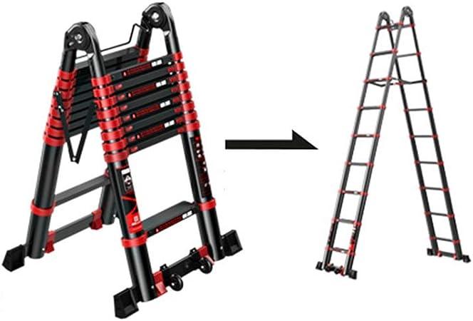 XSJZ Escalera Telescópica Negra, Plegable Escalera de Espiga Portátil, En Espiga Aleación de Aluminio Ingeniería Ascensor Escalera Multifunción En Casa Escalera Plegable (Size : 2.9+2.9m): Amazon.es: Hogar