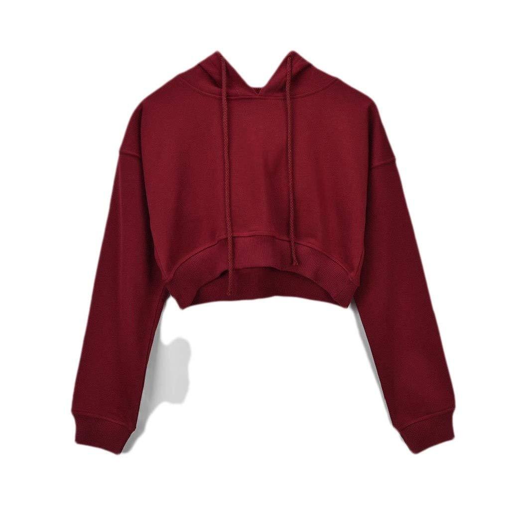 VITryst-Women Cropped Solid Drawstring Hooded Pullovers Sweatshirt