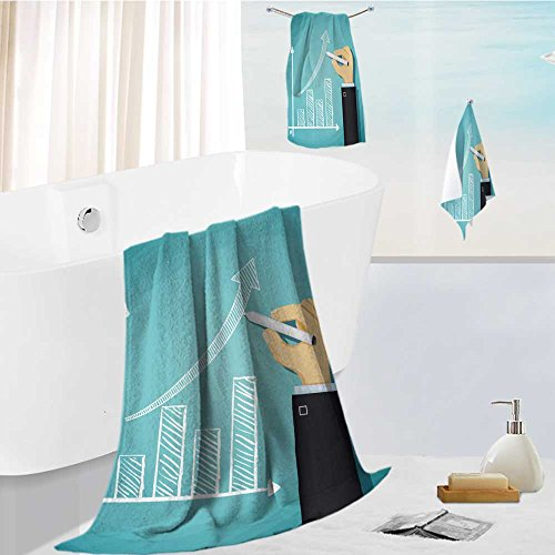 Analisahome Microfiber Outdoor Beach Towel set human hand drawn growth chart success in business cartoon illustration Luxury Hotel Shower Spa Bath Towels