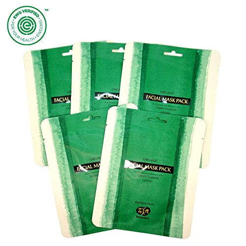 - Whamisa Organic Real SEA KELP Facial Mask Sheet - 35g (5 sheets), OCEAN'S Green Essence - Naturally fermented, EWG Verified