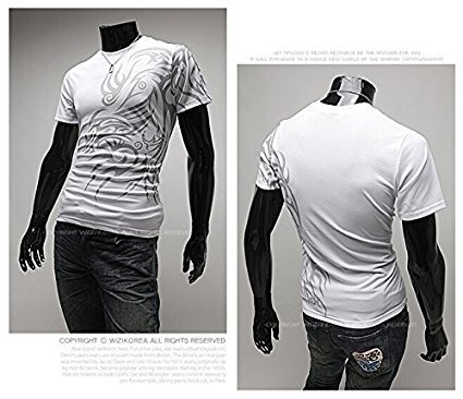 Men Round Neck New Tattoo Short Sleeve T Shirt White L