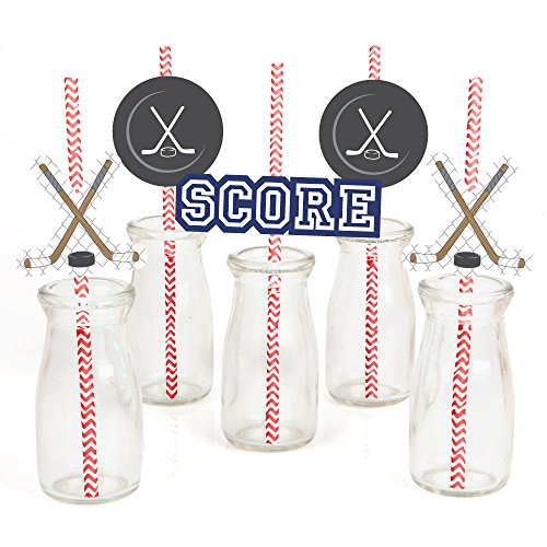 - Shoots & Scores! - Hockey Paper Straw Decor - Baby Shower or Birthday Party Striped Decorative Straws - Set of 24