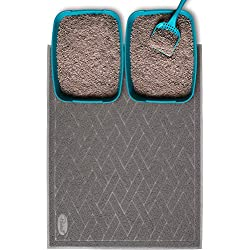 Pawkin Cat Litter Mat - Jumbo XX-Large - 4'x3' - Fits Two Litter Boxes or Extra Coverage for One Box - Gray