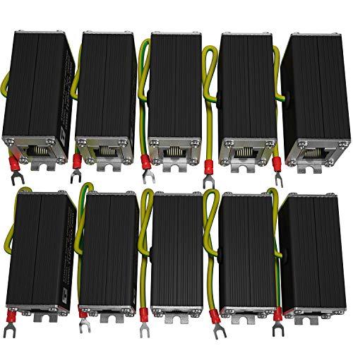 Ethernet Surge Protector (10 Pack) PoE+ Gigabit - Gas Discharge Tube for Full Protection -Mounting Flange- RJ45 Lightning Suppressor- LAN Network CAT5/CAT6 Thunder Arrestor -1000 Mbps- Tupavco - Ethernet Cat5 Gigabit