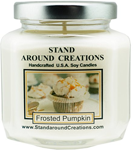 Premium 100% Soy Candle - 6 oz. Hex Jar- Frosted Pumpkin - Creamy pumpkin w/ hints of nutmeg, maple sugar w/ vanilla frosting Infused w/essential oils