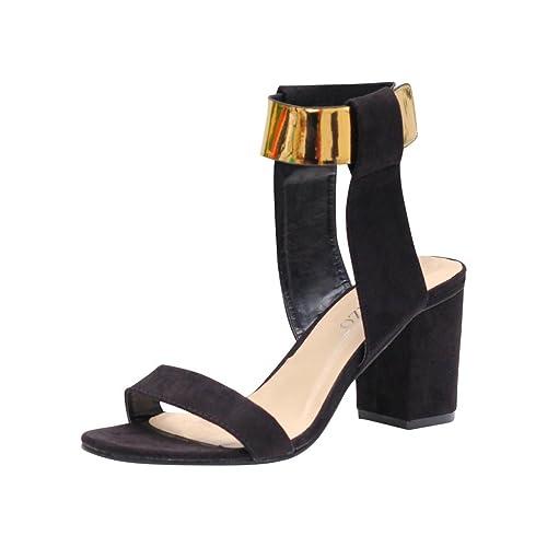 Buy Rivazo Women's Black Gold Suede PU