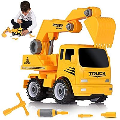 Ultimate Take-A-Part Construction Truck Toy Friction Powered Vehicle 2-In-1 Building Set | Fun Educational Build Take Apart Car Playset For Kids | Engineering Toys For Children | 3 Assembly Tools Kit: Toys & Games