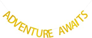 Gold Glitter Adventure Awaits Banner, Adventure Awaits Sign, Retirement/Baby Shower Party Banner, Wedding/Bachelorette Party Banner, Moving/Relocation/Job Change/Farewell Party Decorations