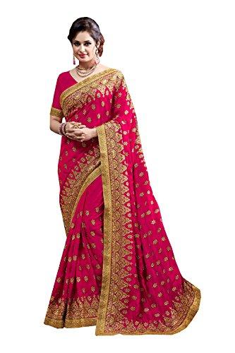 Sakalas-Great-Indian-Women-Designer-Party-wear-Deep-Pink-Color-Saree-Sari-R-15836
