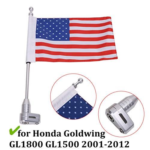 Motorcycle Luggage Rack Pole Flagpole Mount Kit, for Honda Goldwing GL1800 GL1500 2001-2012, Aluminum, American Flag Style