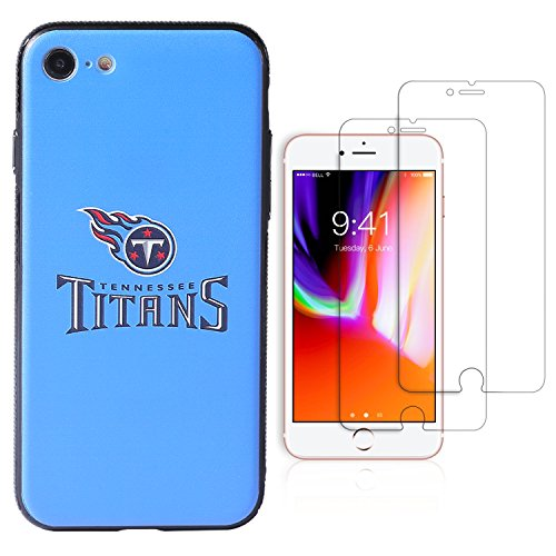 iPhone 8 case, iPhone 7 case, NFL Phone case, TPU/PC Dual Protection, Give 2 Tempered Glass Screen Protectors Extra Value Set (Tennessee Titans) (Titans Tennessee Glass)