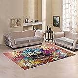 Artsadd Skull Area Rug Carpet 7'x5' Floor Rug for Living Room Bedroom