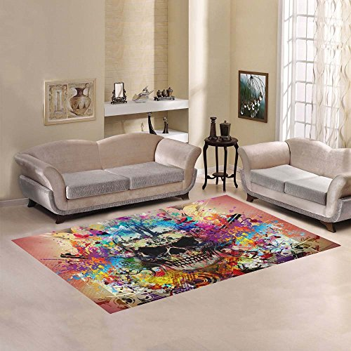 Artsadd Skull Area Rug Carpet 7'x5′ Floor Rug for Living Room Bedroom For Sale