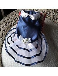 Buy Bargain World Blue Navy Summer Dog Dress Skirt Puppy Princess Dress Bow-knot Dog Skirt online