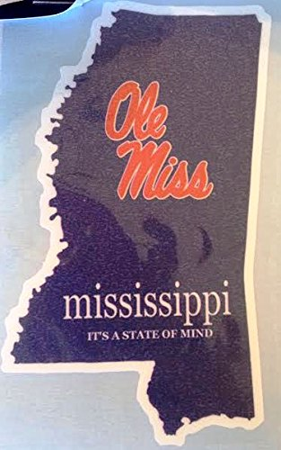 Ole Miss Mississippi It's a State of Mind Car Decal - Rebels Auto Window ()