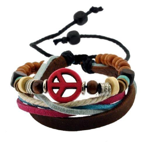 Leather Bracelet Peace Symbol Zen Bracelet, Leather Wristband, Surf Bracelet #326