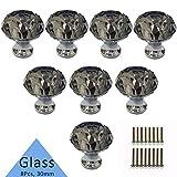 Etubby 8Pcs 30mm Diamond Shaped Luxury Crystal Knobs Glass Knobs with Screws for Drawer Door, Wardrobe Door, Cupboard Door, Kitchen, Etc - Gray