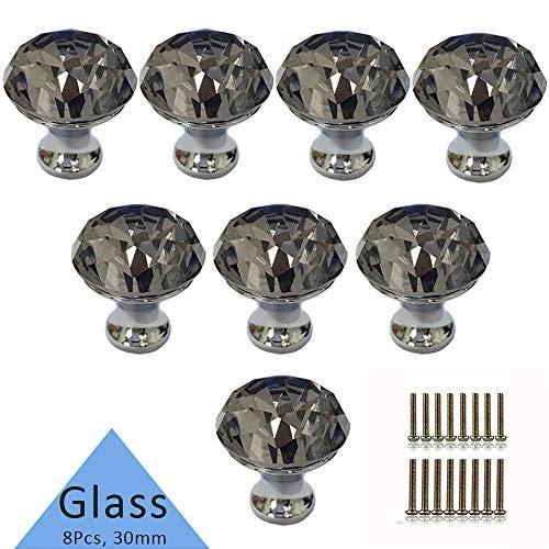 Crystal Knob, Etubby 8Pcs 30mm Diamond Shaped Luxury Crystal Knobs Glass Knobs with Screws for Drawer Door, Wardrobe Door, Cupboard Door, Kitchen, Etc - -