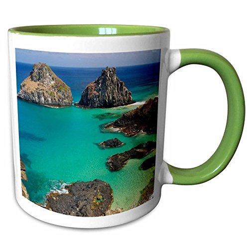 Br Two Tone Green (3dRose VWPics Brazil - Porcos bay and Dois Irmaos islands,Fernando de Noronha national marine sanctuary,Pernambuco, BR - 11oz Two-Tone Green Mug (mug_45890_7))