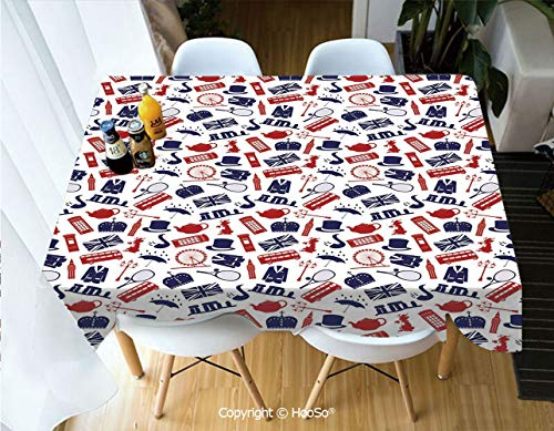 HooSo Premium Polyester Table Cover, Machine Washable, Durable Table Cloths for Wedding Reception Restaurant Banquet Party,London,United Kingdom Country Themed Symbols -