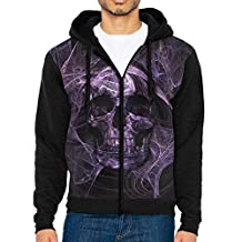 Purple Smoke Skull Casual Men's Hoodies Full Zip Drawstring Sports Kangaroo Pockets Hooded Sweatshirt For Men