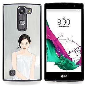 """Profundo Pensamiento Retrato Gris Gris Moda"""" - Metal de aluminio y de plástico duro Caja del teléfono - Negro - LG Magna / G4C / H525N H522Y H520N H502F H500F (G4 MINI,NOT FOR LG G4)"""